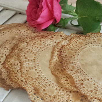 "Vintage Tea Stained Paper Lace Doilies, 4"",  Set of 10, Rustic, Primitive, Country, Victorian, Wedding, Baby Shower, Wine Party, Gift Wrap"