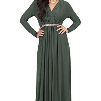 KOH KOH Womens Long Sleeve Kaftan VNeck Flowy Formal Winter Gowns Maxi Dress