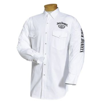 Jack Daniels Mens Solid White Logo Embroidered Snap Western Shirt