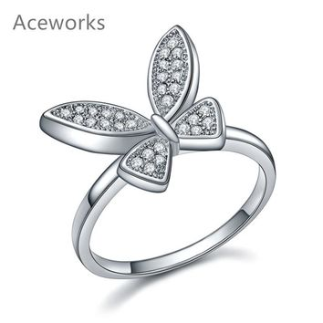 Aceworks Silver Butterfly 100% Real 925 Sterling Silver Jewelry Ring Zirconia Wedding Rings Women Girls Insect Series