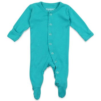 L'OVEDBABY Organic Teal Gloved Sleeve Overall