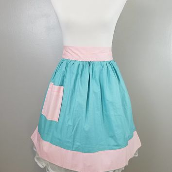Mid Century Midcentury Hand Made Atomic Colors Blue and Pink Half Apron with Pocket MCM
