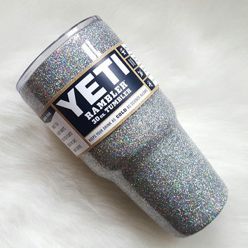 JANUARY DELIVERY White Diamonds Glitter Stainless Tumbler Yeti, Ozark Trail Cup, RTiC.... see additional listing to ADD on a Monogram