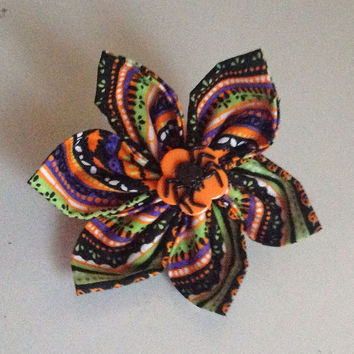 Halloween Flower for Girl Dog or Cat Collar with Spider
