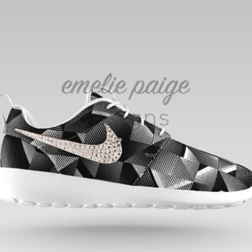 Custom Nike Roshe One (Black Geometric) casual shoes with Swarovski Crystals
