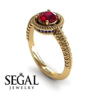 Unique Engagement Ring 14K Yellow Gold Vintage Art Deco Victorian Ring Edwardian Ring Filigree Ring Ruby With Sapphire - Penelope