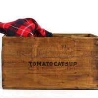 Vintage Howell's Best Tomato Catsup Wood Crate, Ketchup Wood Crate, Old Wooden Crate, Industrial Decor