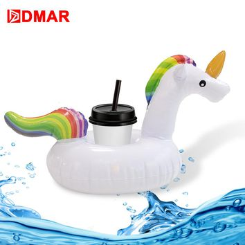 DMAR Inflatable Unicorn Drink Holder Pool Float Cup Holder Swimming Ring Circle Beach Water Bath Toys For Kids Adults