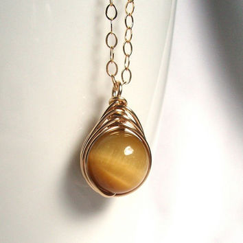 Honey Tiger Eye Herringbone Pendant, 14kt Gold Filled Wire Wrapped Jewelry Handmade, Yellow Tiger Eye Gemstone Pendant, Tiger Eye Necklace