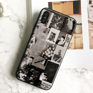 black ins style manga Collage coque TPU Phone Case soft silicone cover shell For Apple iPhone 5 5s Se 6 6s 7 8 Plus X XR XS MAX