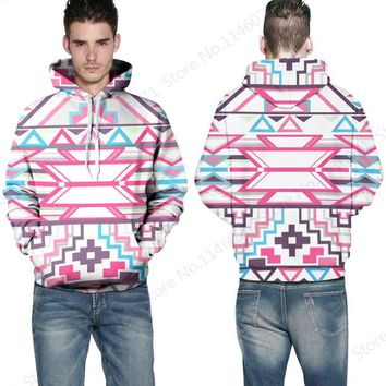 Pink Peach Hooded Sweatshirts Abstract Geometric Skateboarding Hoodies POP Print Hip Hop Sweatshirts Autumn Full Sleeves Sweater