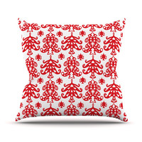 "Miranda Mol ""Ornate Trees White"" Red Holiday Throw Pillow"