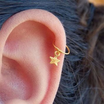 2018 New Fashion Gold Star Cartilage Helix Earring Piercing Nose Ring Body Piercing Jewelry Gifts 1PCS