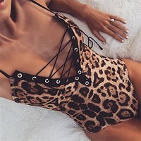 Women Sexy Low-Cut Leopard Jumpsuit