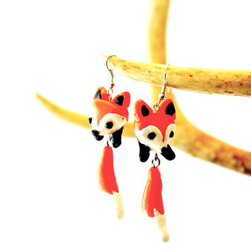 Fox Earrings - Kawaii Fox Earrings - Dangle Fox Earrings - Red Orange Fox Earrings - Fox Jewelry - Fox Gifts