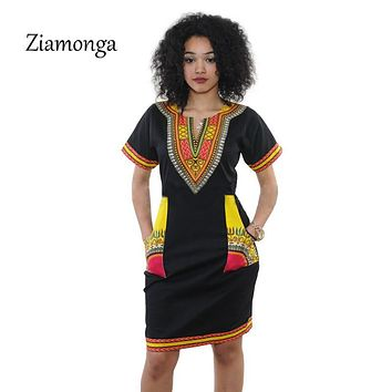 Ziamonga 3XL Plus Size Dress African Clothes Dashiki Dress For Women Casual Summer Dresses Vintage Printed Vestidos Robe Femme