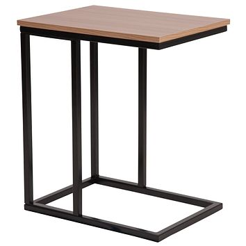 Aurora Wood Grain Finish Side Table with Metal Cantilever Base