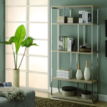 """Natural Reclaimed-Look / Chrome Metal 72""""H Bookcase"""