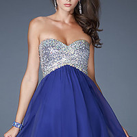 La Femme Strapless Short Prom Dress with Open Back