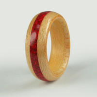 Wooden Ring Maple with Red Coral Inlay