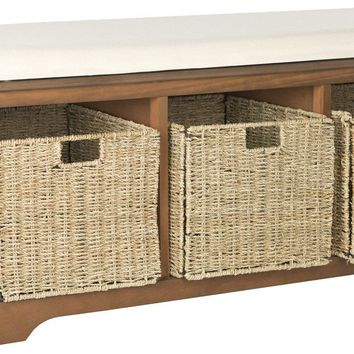 Lonan Wicker Storage Bench Medium Walnut/White