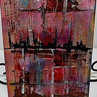 Striations Mixed Media Canvas Board. Ready to Ship