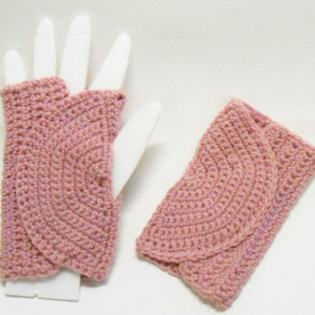 Fingerless Gloves Pink Wool