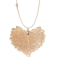 Real Leaf PENDANT with Chain COTTONWOOD Rose Gold Dipped Genuine Leaf Necklace