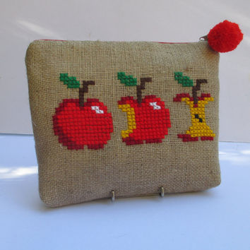 Red apples  burlap pouch bag, cross stitch embroidery ,accessories pouch, handmade pouch, travel accessory