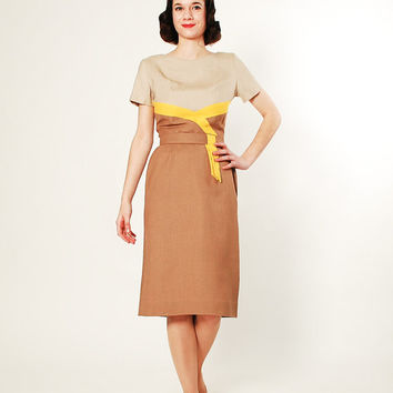 Vintage 50s Dress - 1950s Color Block Dress - Yellow Wrapped Neutrals