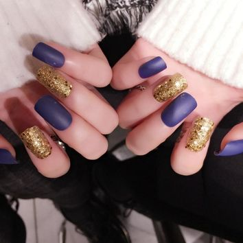 Gold Sequins Design Fale Nail Tips Frost Matte Acrylic Press On Nails Medium Manicure Accessories 24pcs Z352