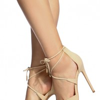 Nude Faux Suede Pointed Toe Lace Up Heels @ Cicihot Heel Shoes online store sales:Stiletto Heel Shoes,High Heel Pumps,Womens High Heel Shoes,Prom Shoes,Summer Shoes,Spring Shoes,Spool Heel,Womens Dress Shoes