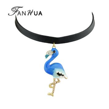 FANHUA Gothic Style Black leather Chain Choker Necklace Blue Orange Color Flamingo Pendant Necklace Costume Jewelry For Women
