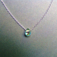Small Mystic Topaz Gem Necklace Sterling Silver