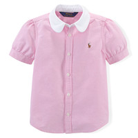 Short-Sleeve Oxford Blouse, Pink,