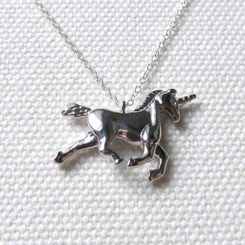 Silver Unicorn Necklace Fantasy Jewelry Gift For Friend Sterling Silver Chain Cute Quirky Dainty Unicorn Pendant