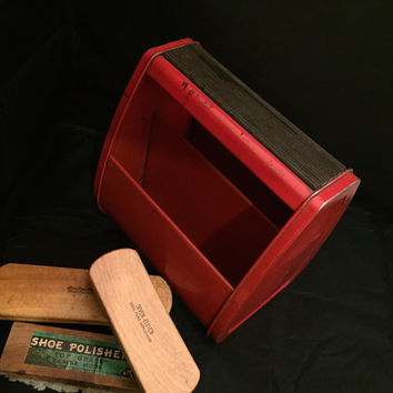 Spacemaster Shoe Shine Metal Red Box Tote With Horse Hair And Lamb Wool Brushes