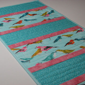 Quilted Table Runner , Springtime Birds , Aqua and Rose