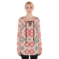 Tribal Shapes Women's Tie Up Tee