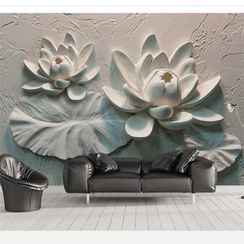 beibehang Custom wallpaper 3d photo murals three-dimensional relief lotus background wall paper decorative painting 3d wallpaper