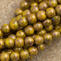 100 Czech 6mm Pressed Glass Round Opaque Yellow Bronze Picasso Beads 815696P
