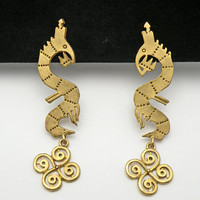 Vintage Aztec Design Long Shoulder Duster Pierced Earrings Mayan Dragon Gold Tone