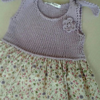 Flower girl summer dress, ready to ship,knitting and flowers fabric,lavander