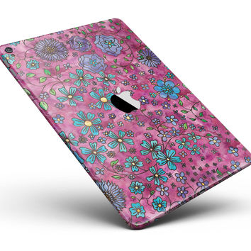 "Floral Pattern on Wine Watercolor Full Body Skin for the iPad Pro (12.9"" or 9.7"" available)"