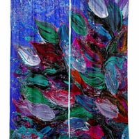 BLOOMING BEAUTIFUL Bold Floral Art Window Curtains, Multiple Sizes Abstract Blue Magenta Decor Bedroom Kitchen Lined Unlined Woven Fabric