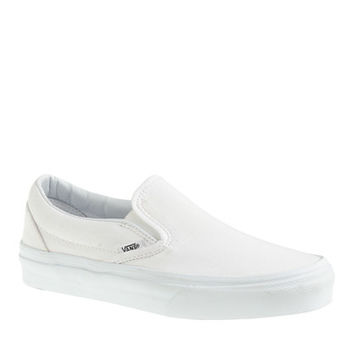 Vans Solid Canvas Classic Slip-On Shoes In White