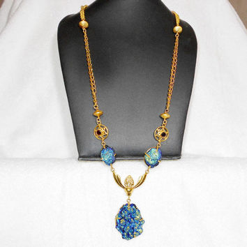 Blue Druzy Neckalce, Healing Chakra Necklace, Chain Necklace, Points Pendant, Brass Necklace, Women Necklace, Gift For Her, Mothers Day Gift