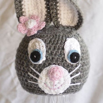Bunny hat -  Baby animal hat - 0-3 months - Easter Hat - READY TO SHIP - photography prop