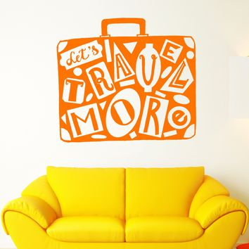 Vinyl Wall Decal Retro Suitcase Traveler Travel Tourism Motivation Words Stickers Unique Gift (1960ig)