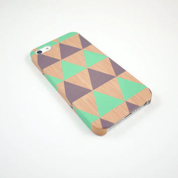 Geometric Triangle Wood iPhone 5 Case, iPhone 5s Case, Mint Gray iPhone 5 Cover, Hard iPhone 5 Case